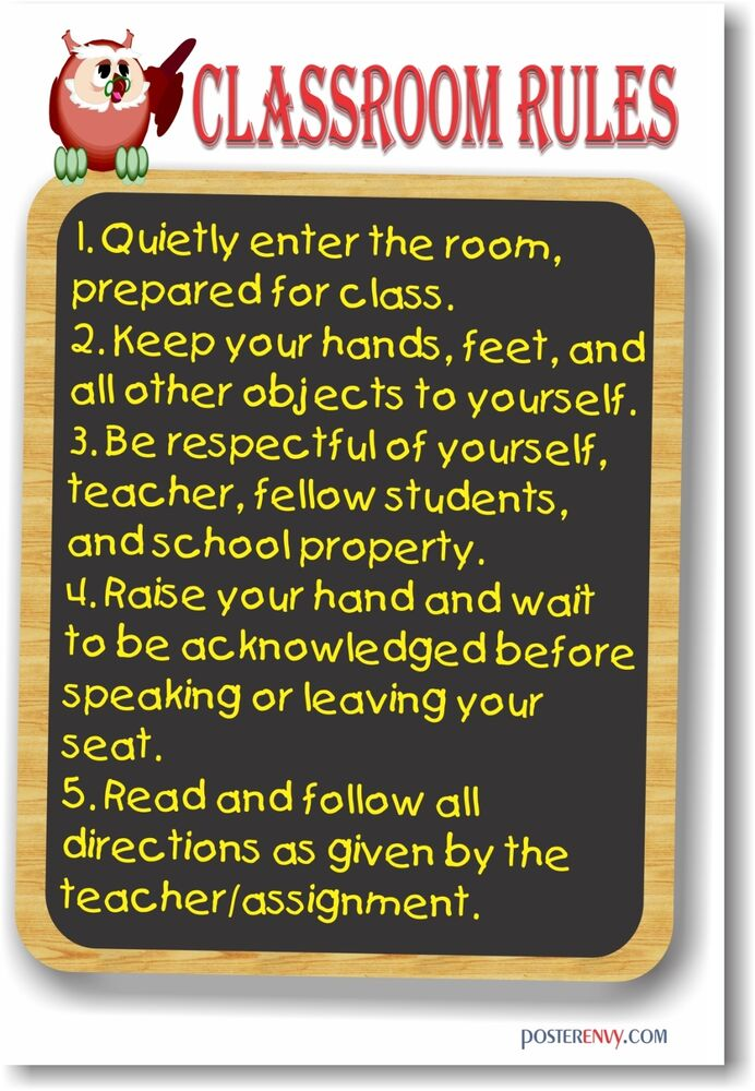Modern Classroom Rules ~ Classroom rules new motivational poster ebay