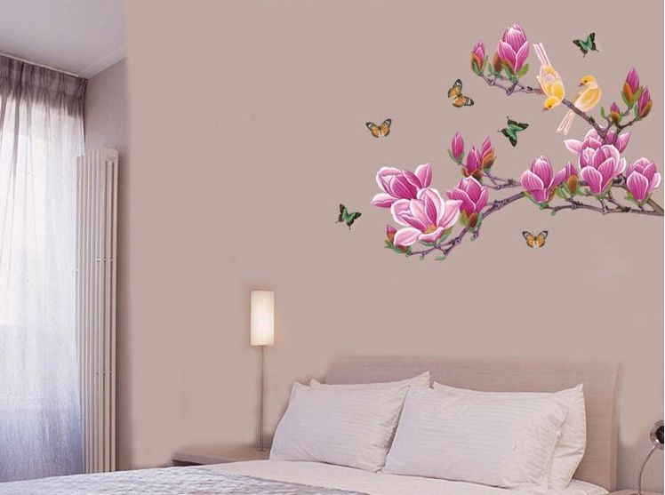 Large Magnolia Flower Tree Branch Butterfly Birds Wall