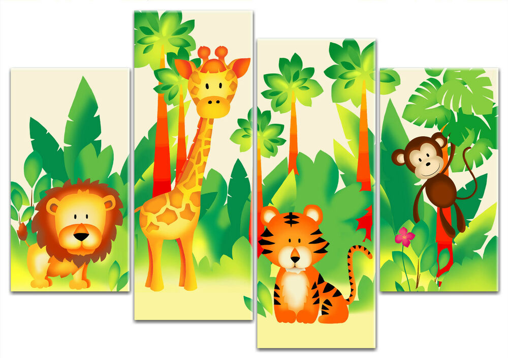 Childrens jungle animals lion tiger monkey 4 panel for Childrens jungle print fabric