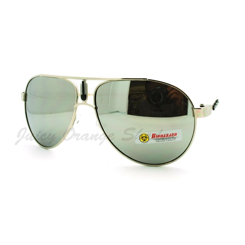 Biohazard Sunglasses Racer Round Aviators Multicolor ...
