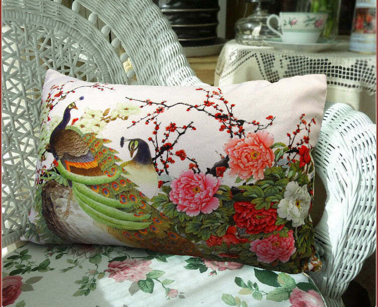 Elegant Peacock Floral Both Side Throw Pillow Cushion