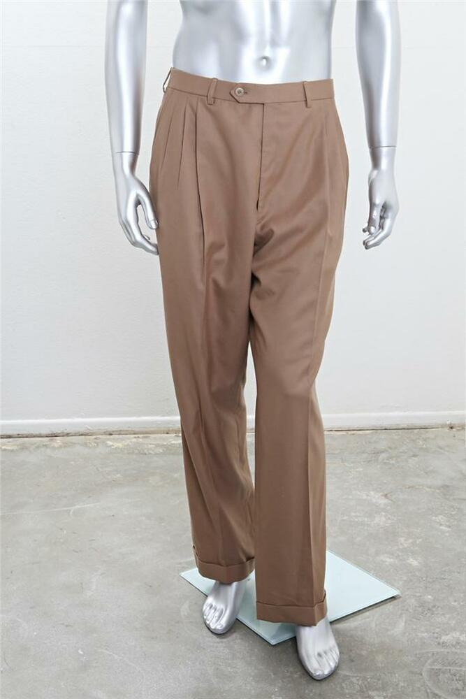 Brioni Mens Light Brown Mocha Wool Pleated Front Straight