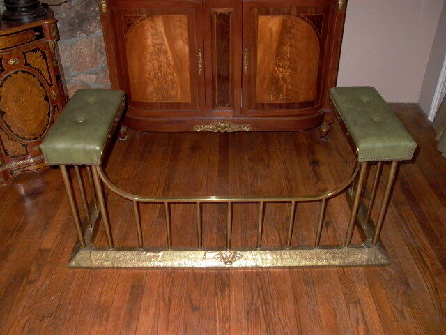 Antique Brass Fireplace Fender With Leather Seats Ebay