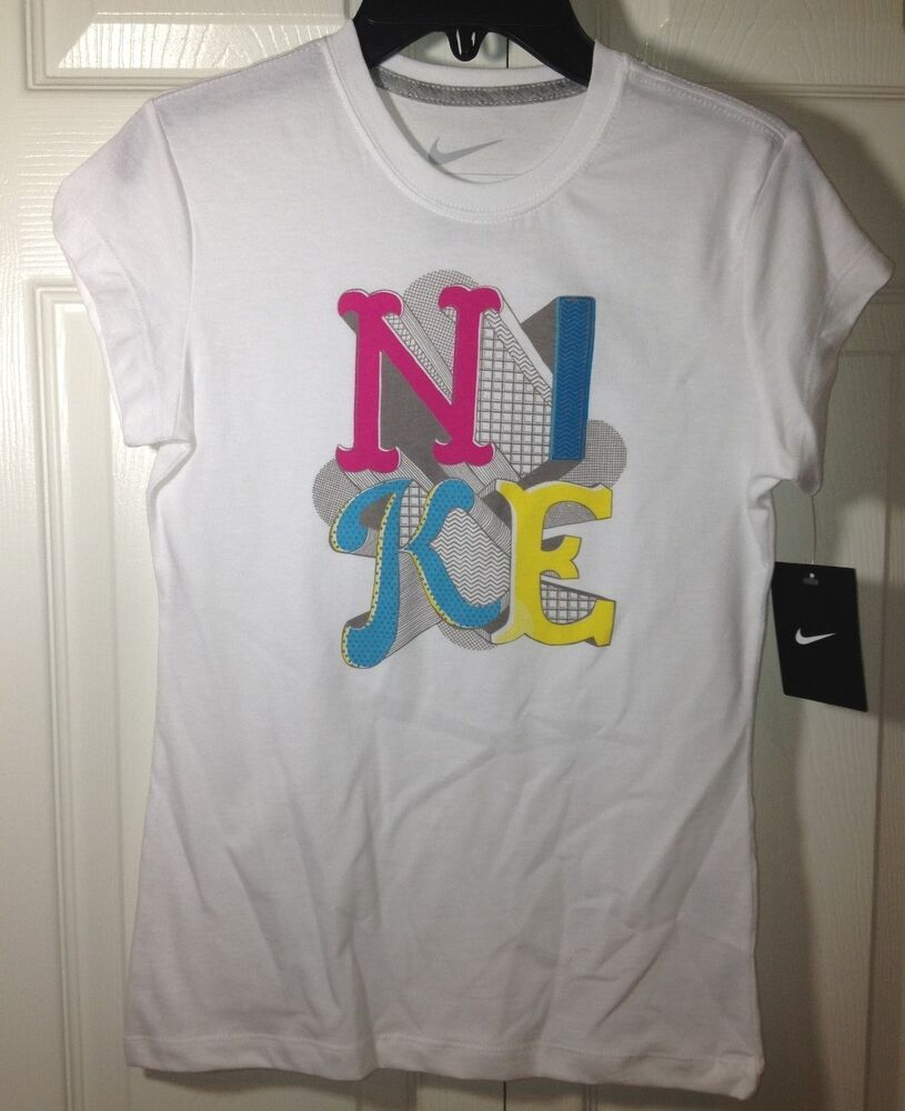Nike Just Do It Tee Shirt White Slogan Youth Girls Size M