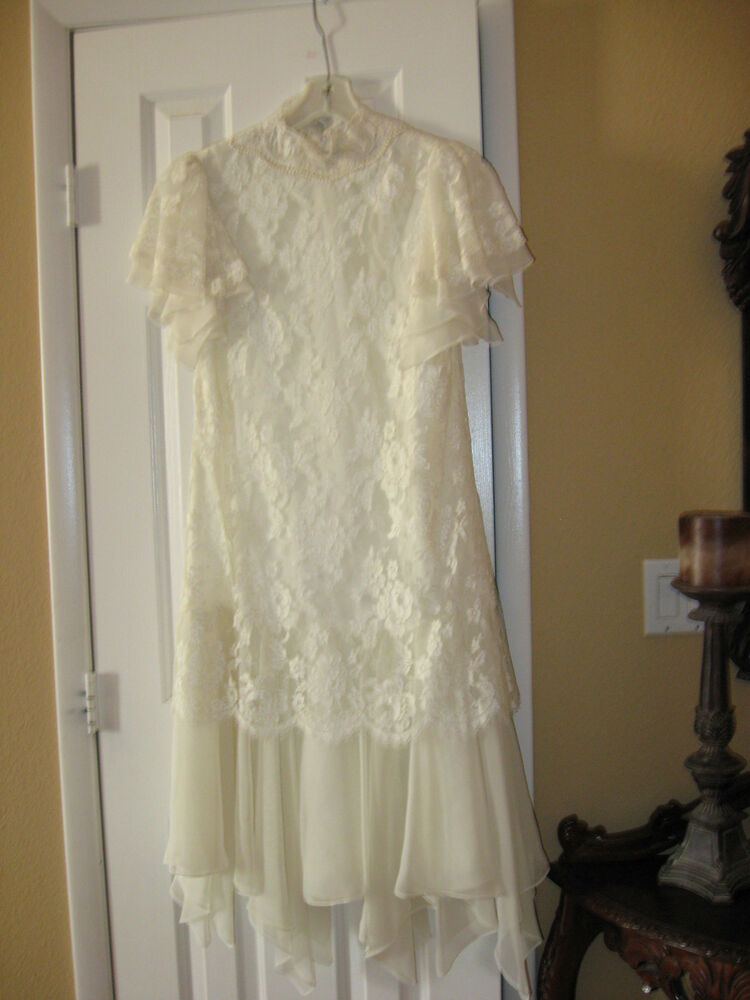 Vintage ivory lace and chiffon tea length shift wedding for Short ivory wedding dress