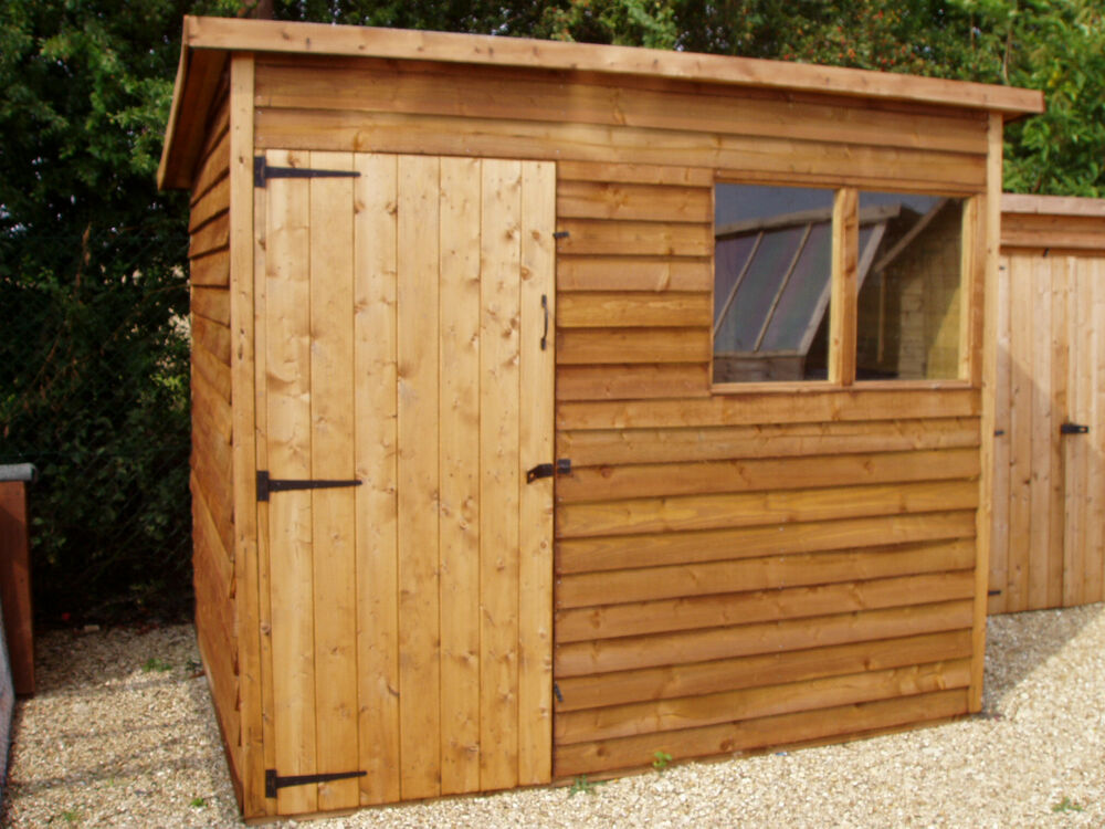 7ft x 5ft quality wooden pent roof garden storage shed ebay for Wooden garden storage shed