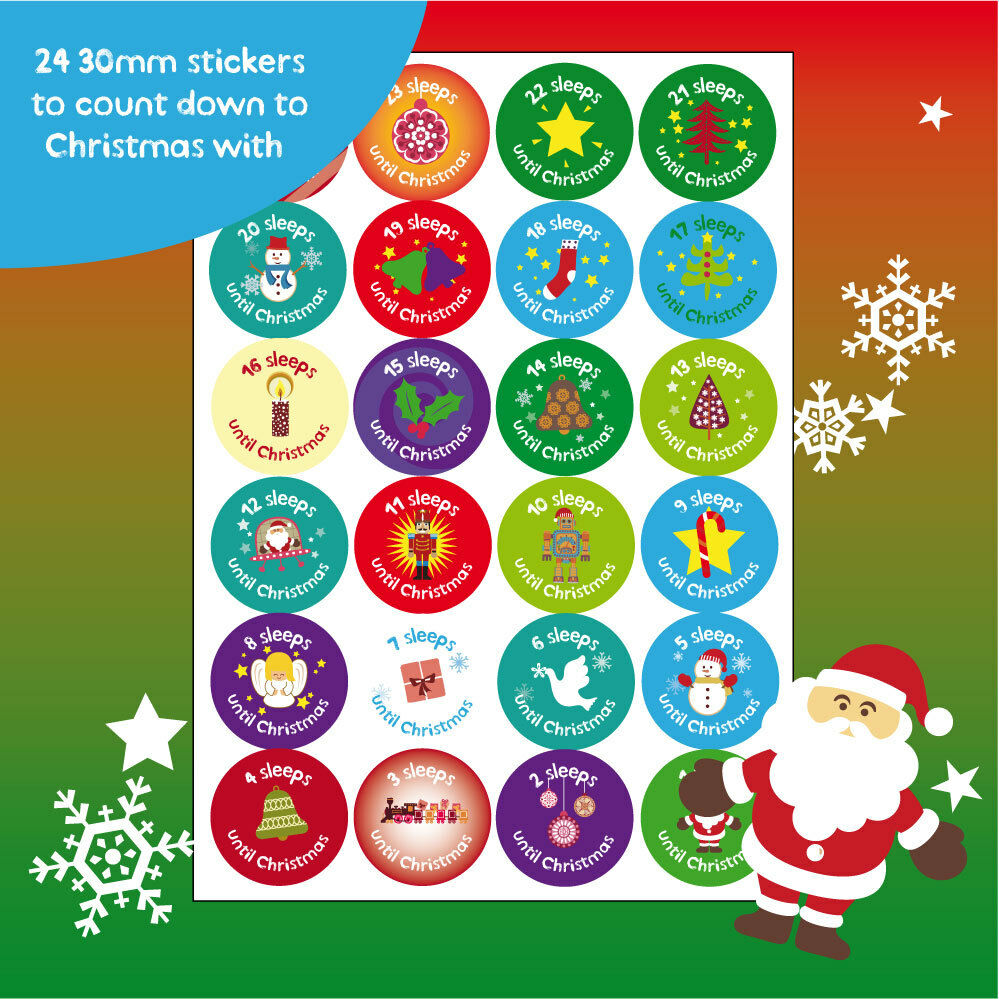 Children S Calendar With Stickers : Mm christmas countdown stickers xmas labels kids