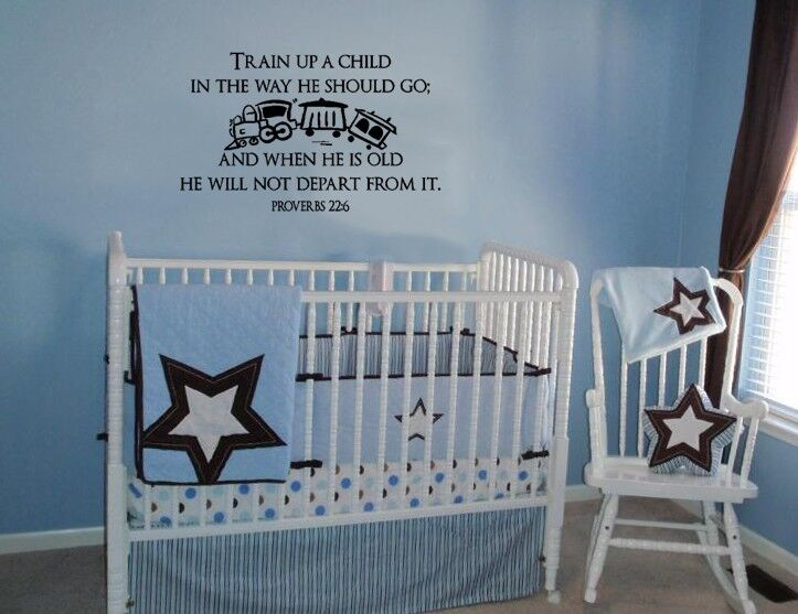 Religious Wall Decor For Nursery : Train up a child proverbs wall art quote decal vinyl