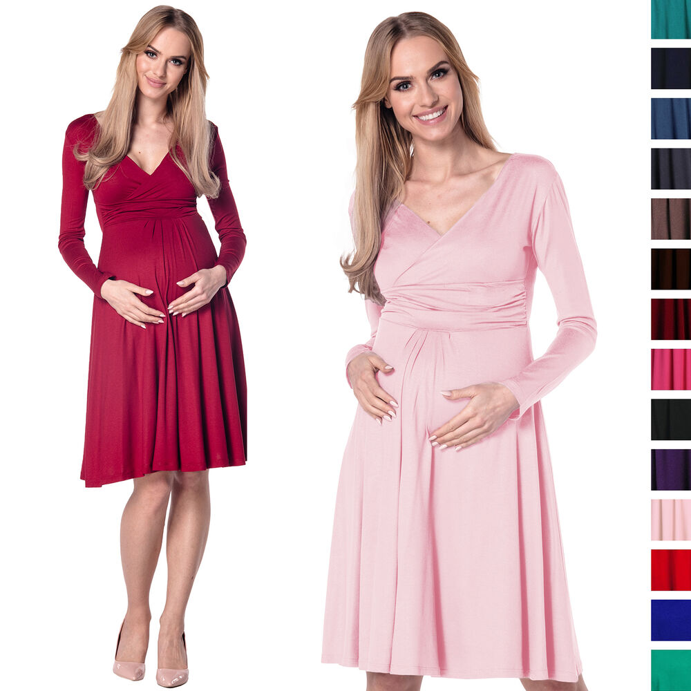 maternity jersey empire dress long sleeves baby shower 890p ebay