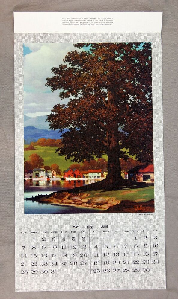Vintage 1972 Ted Withers Peaceful Cove Canvas Calendar Print Rare Ebay