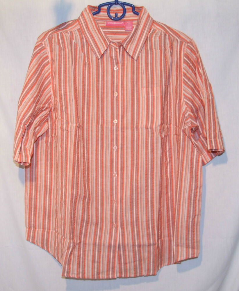Women 39 s plus size button down s s seersucker stripe shirt for Red and white button down shirt