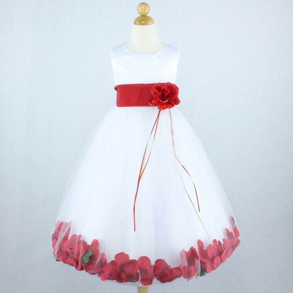 White red wedding party bridal flower girl dress petals gown recital
