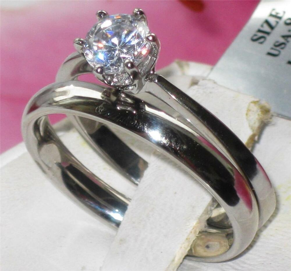 Str320 wedding band set solitaire simulated diamond for Ebay diamond wedding ring sets