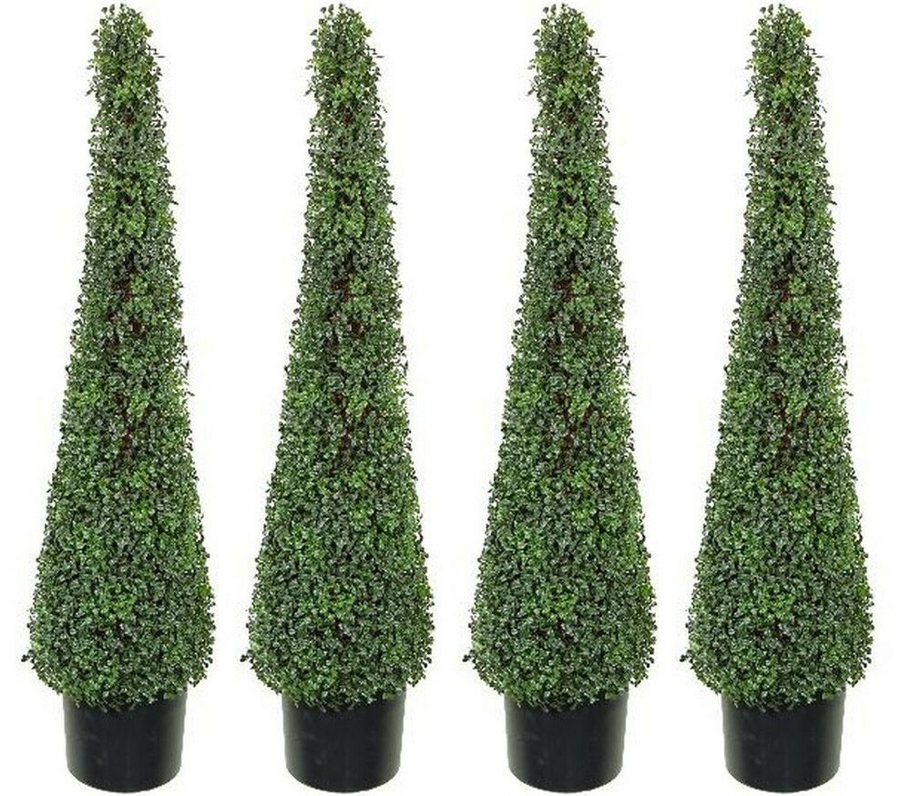 4 artificial 4 39 boxwood outdoor topiary tree plant cone. Black Bedroom Furniture Sets. Home Design Ideas