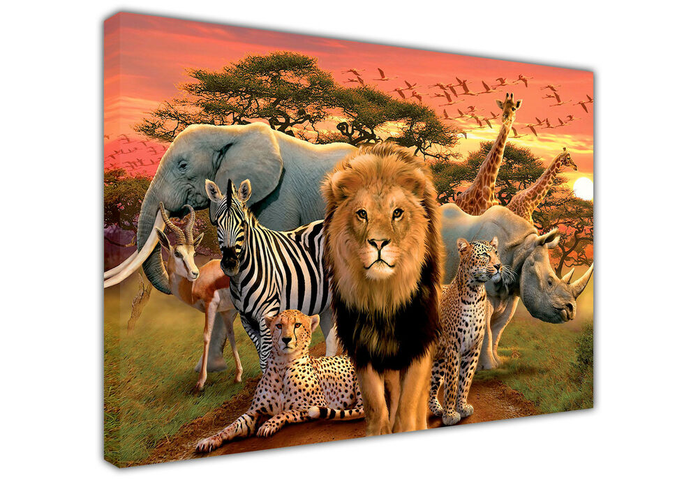 Cute African Animals Landscape Large Canvas Print Wall Art