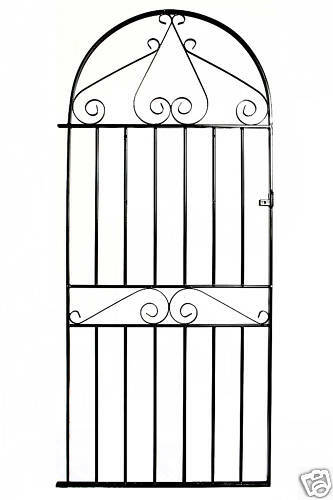 Wrought Iron Metal Arched Scroll Tall Garden Gate 3ft
