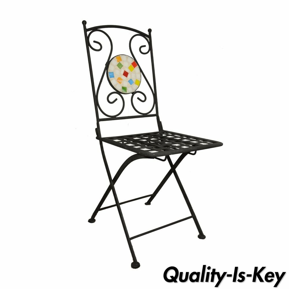Single Wrought Iron Mosaic Tile Folding Garden Dining