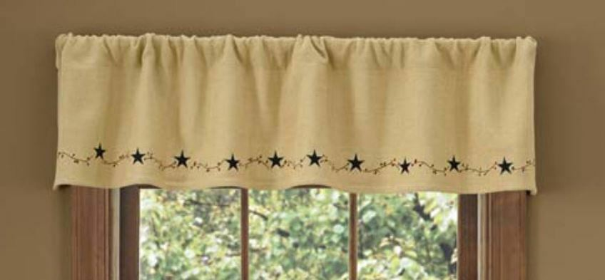 "Country Natural Burlap Star Vine Lined Primitive Window Valance 60"" x ..."