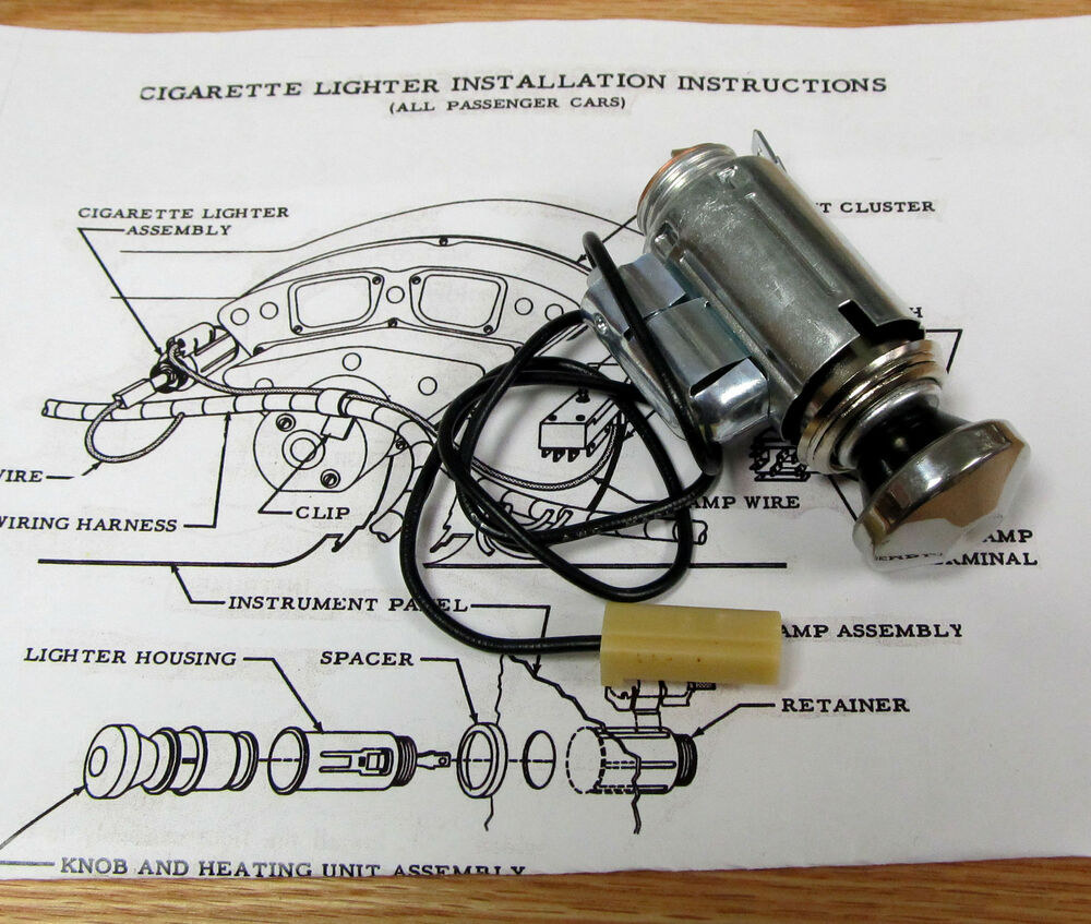 1955 Chevy Cigarette Lighter Assembly With Light Option