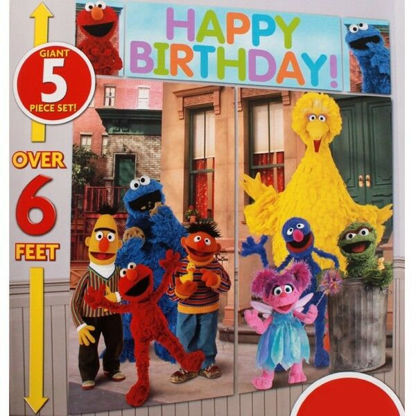 Sesame Street Scene Setter Happy Birthday Party Wall Decor