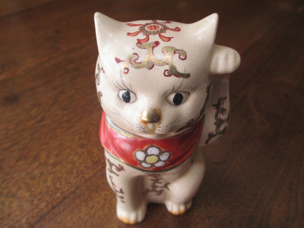 "ANTIQUE JAPANESE PORCELAIN OLD IMARI/KUTANI MANEKI NEKO ""BECKONING CAT"" MARKED  