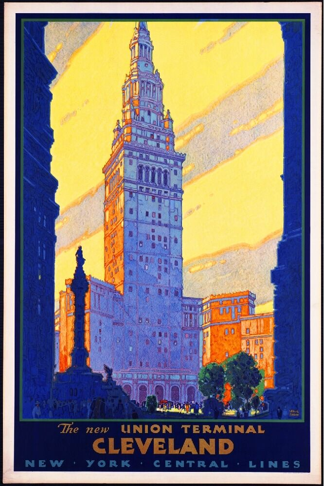 1930s cleveland ohio new york line vintage railroad travel advertisement poster ebay. Black Bedroom Furniture Sets. Home Design Ideas