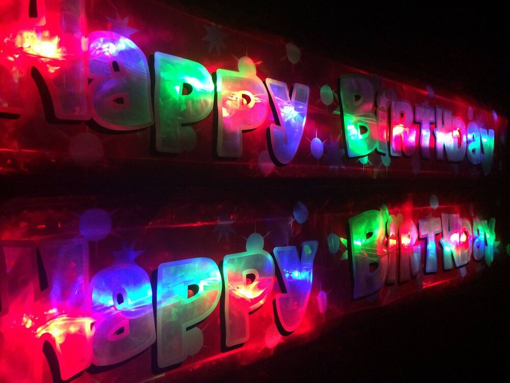 New Flashing Red Happy Birthday Banner Party Decoration