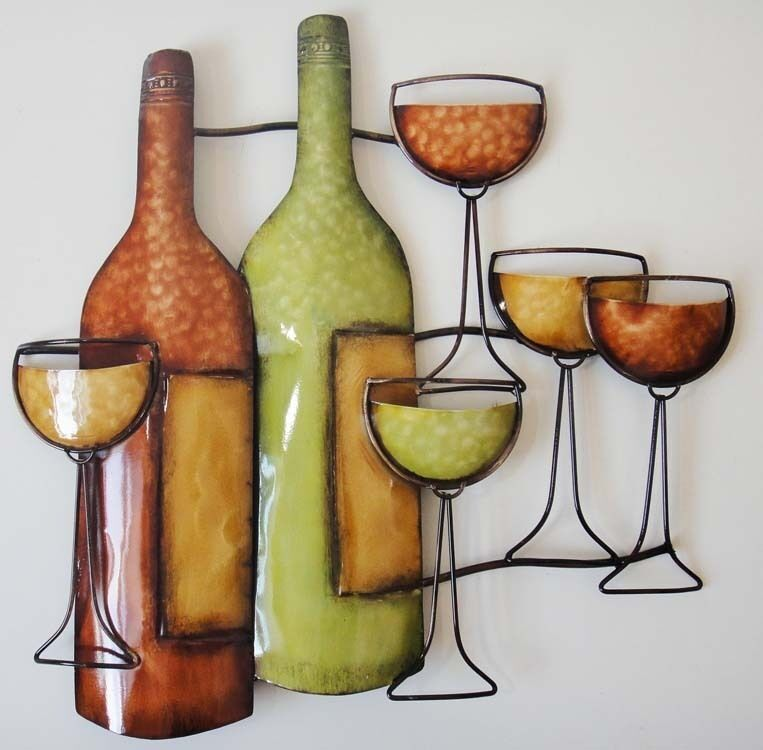 New contemporary metal wall art decor sculpture wine for Wall decor wine bottles