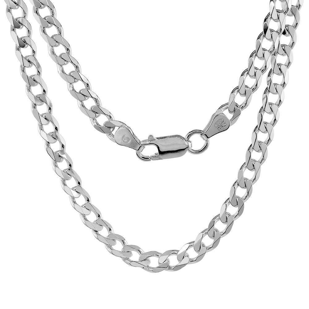 Sterling Silver 6mm Italian Cuban Curb Link Chain Necklace