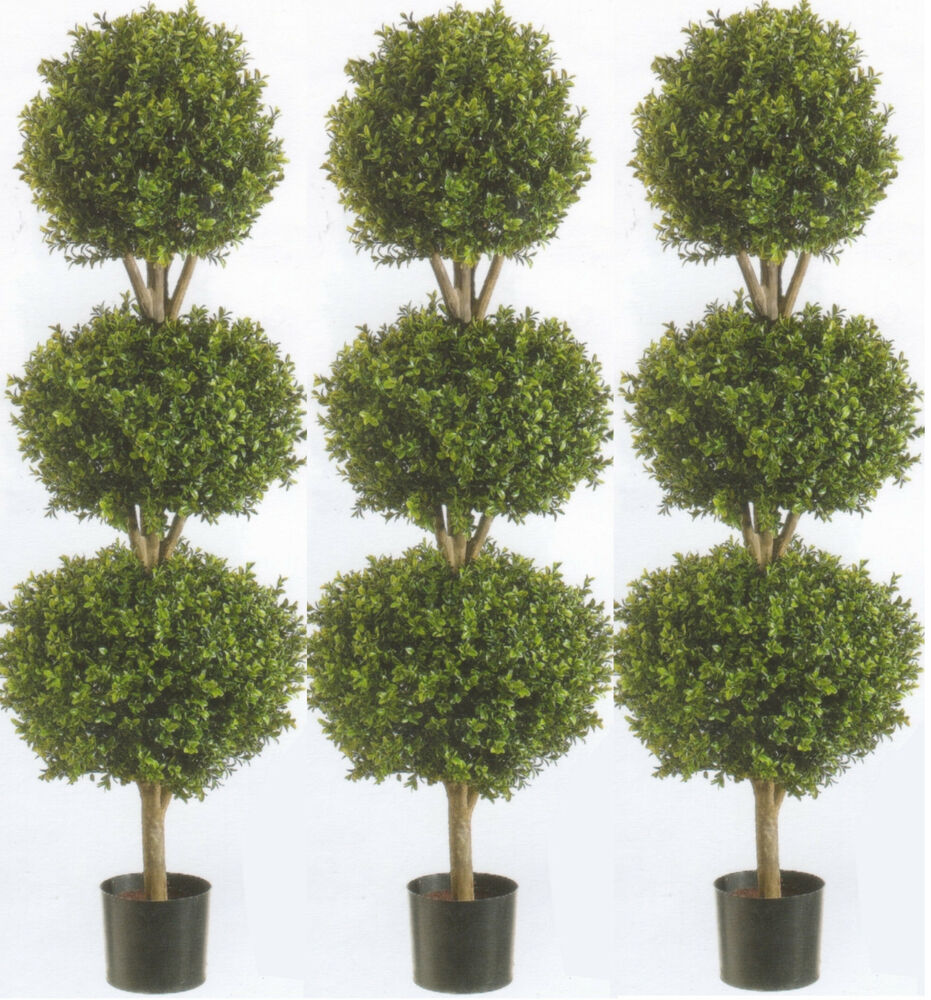 3 artificial 56 boxwood 3 ball bush outdoor topiary tree for Garden topiary trees