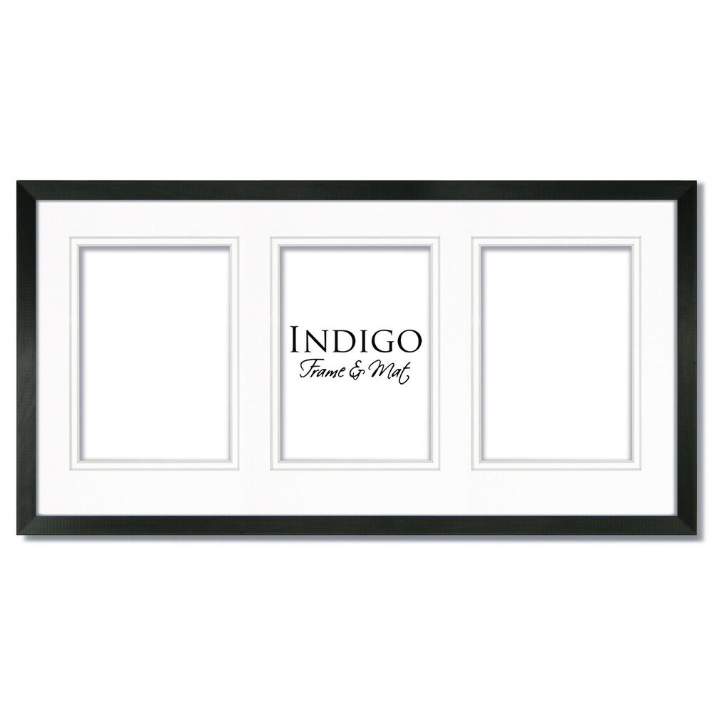 10x20 Black Wood Picture Frame Glass With Double White Mat