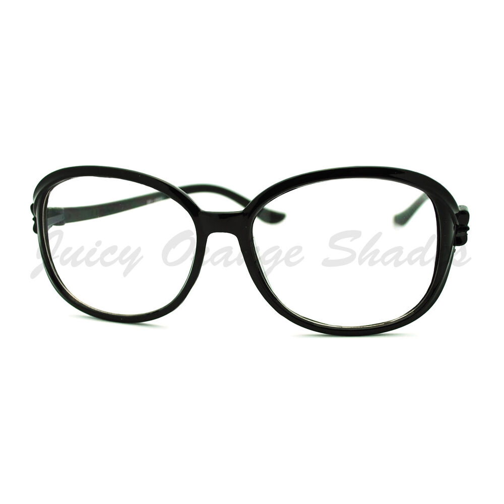 Womens Clear Lens Fashion Glasses Round Frame with Ribbon ...