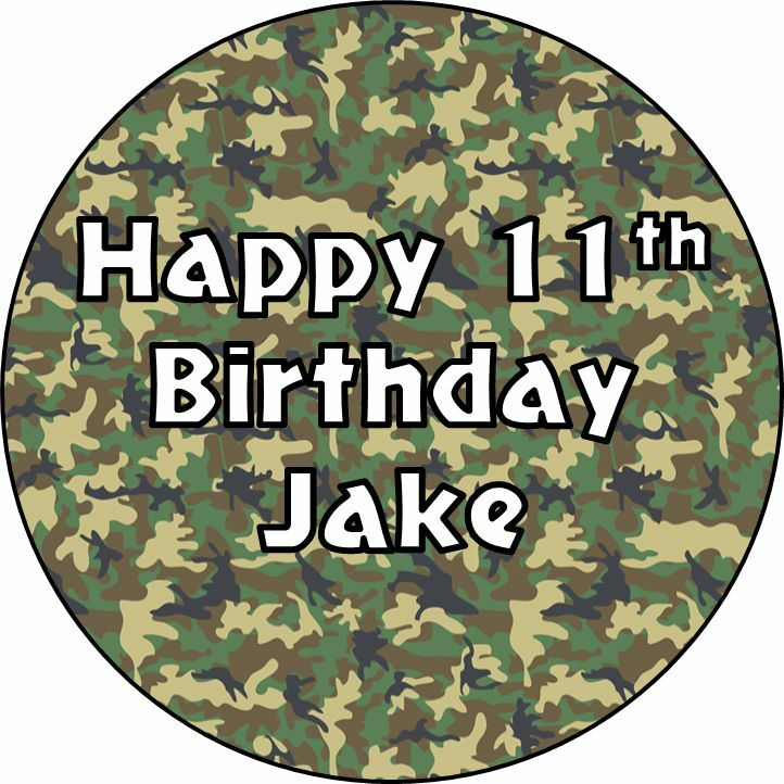 Personalised Army Camouflage Cake Topper Edible Icing Or