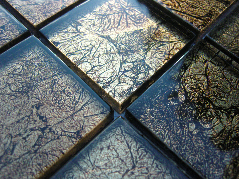 glasmosaik effekt mosaik fliesen klarglas metall schwarz gold klarglas 8mm bad ebay. Black Bedroom Furniture Sets. Home Design Ideas