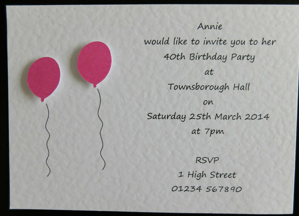 10 Handmade Personalised Birthday Invitations 18th 21st ...