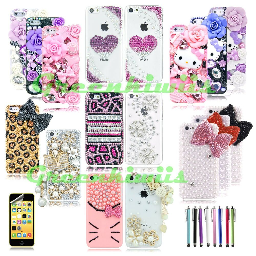 FOR APPLE iPHONE 5C DIAMOND CASE 3D BLING LUXURY CRYSTAL CUTE ...