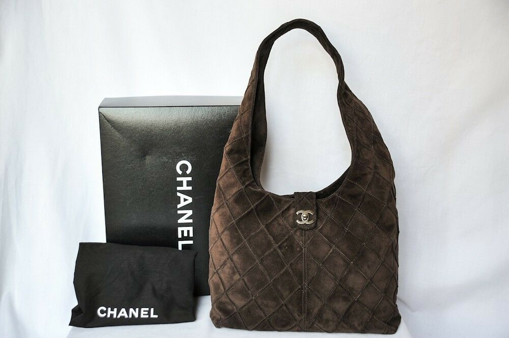 Chanel Dark Brown Suede Leather Quilted Bag Hobo Messenger