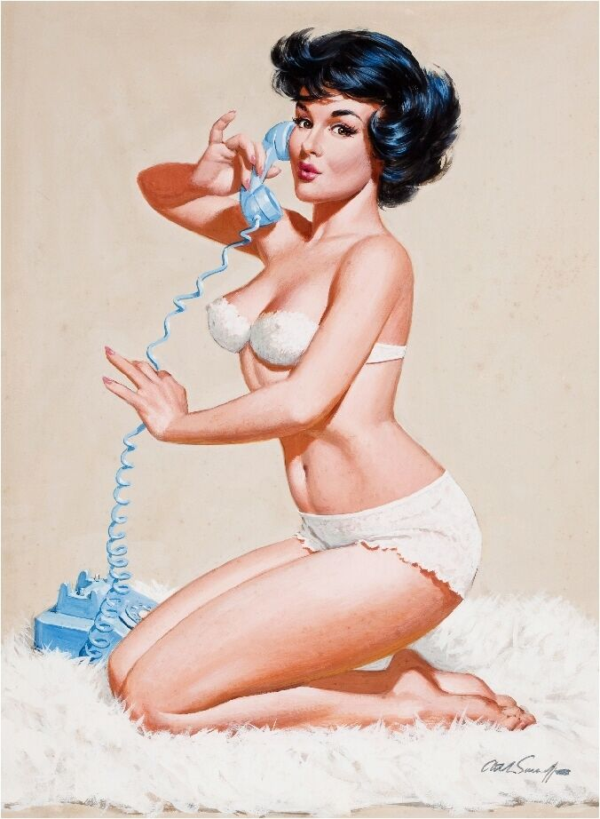 pin up on a 1940s pin up girl on the telephone picture poster print