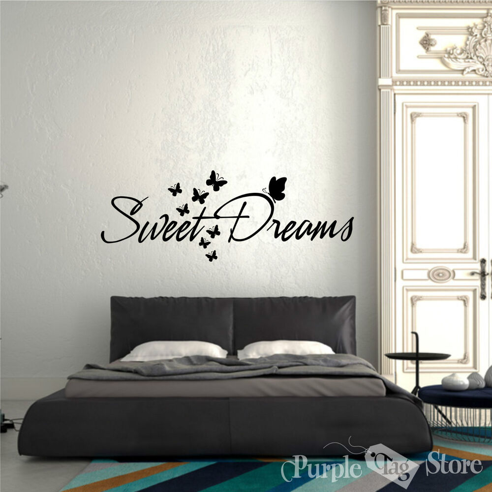 Sweet Dreams Butterflies Vinyl Art Home Wall Quote Decal