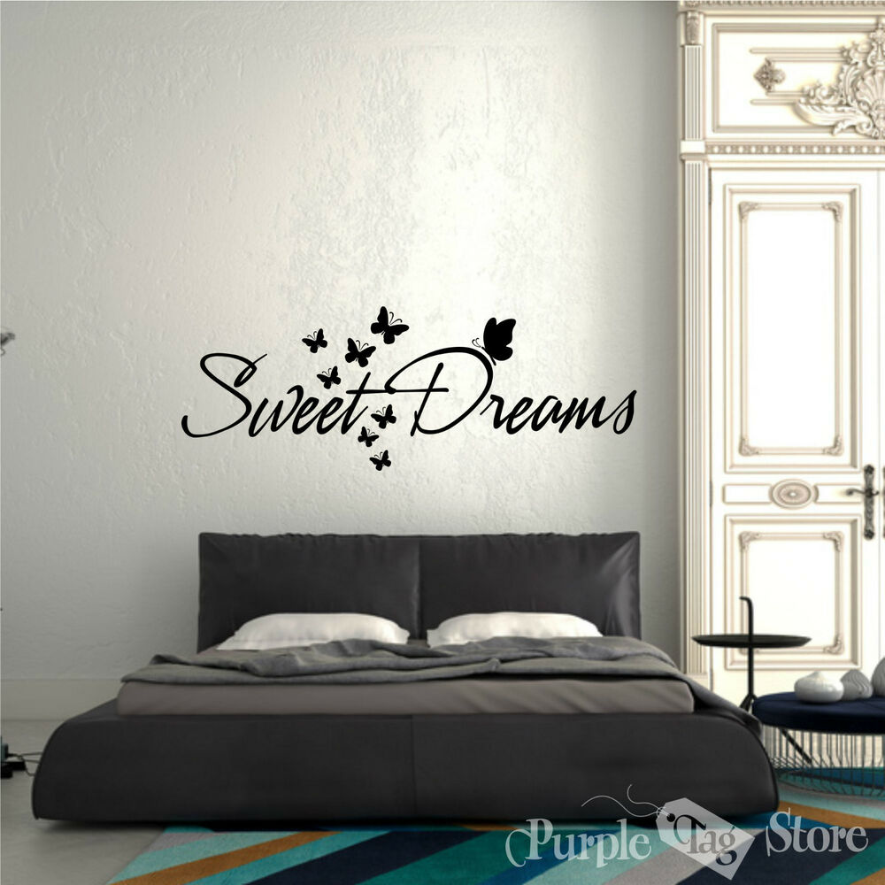 Sweet dreams butterflies vinyl art home wall quote decal for Sticker deco