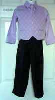 Boys Lilac Waistcoat Black Trousers 4 Piece Suit Wedding Formal Occasion 6-9 Mts