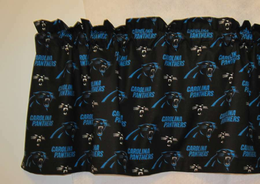 "... Carolina Panthers Handmade Window Curtain Valance 56""w x 13""L 