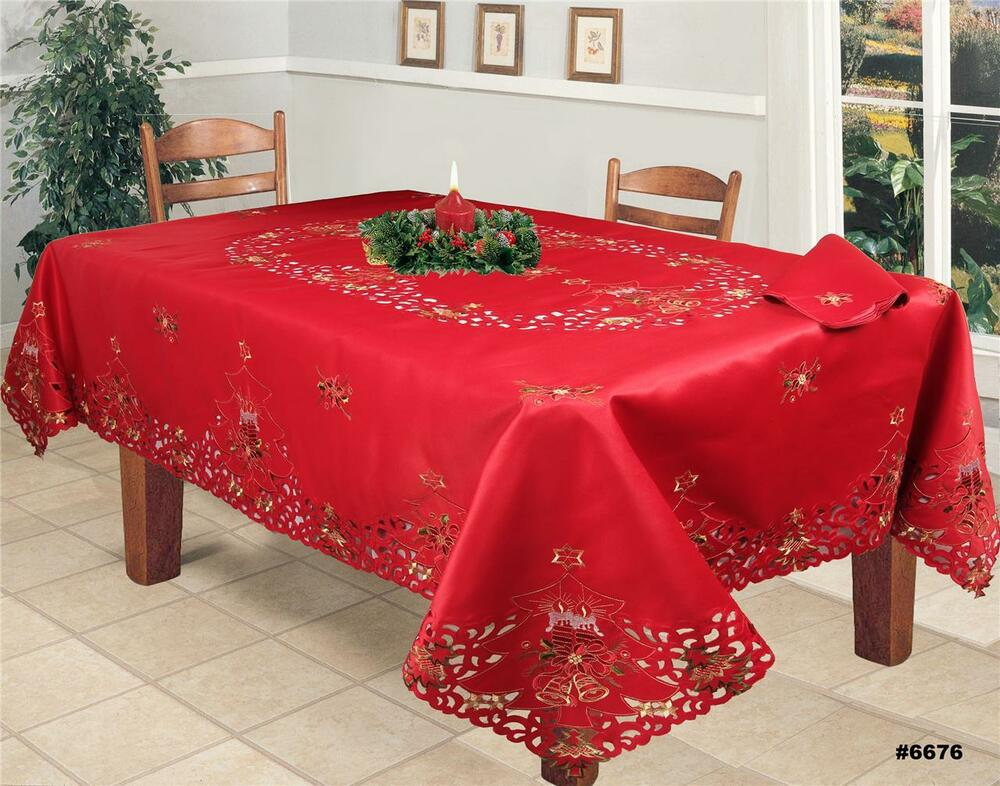 Christmas Embroidered Poinsettia Candle Tablecloth with  : s l1000 from www.ebay.com size 1000 x 786 jpeg 120kB