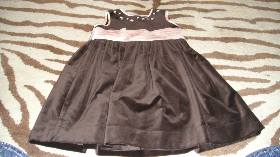 Boutique luli amp me 2t brown velour pink flowers dress ebay