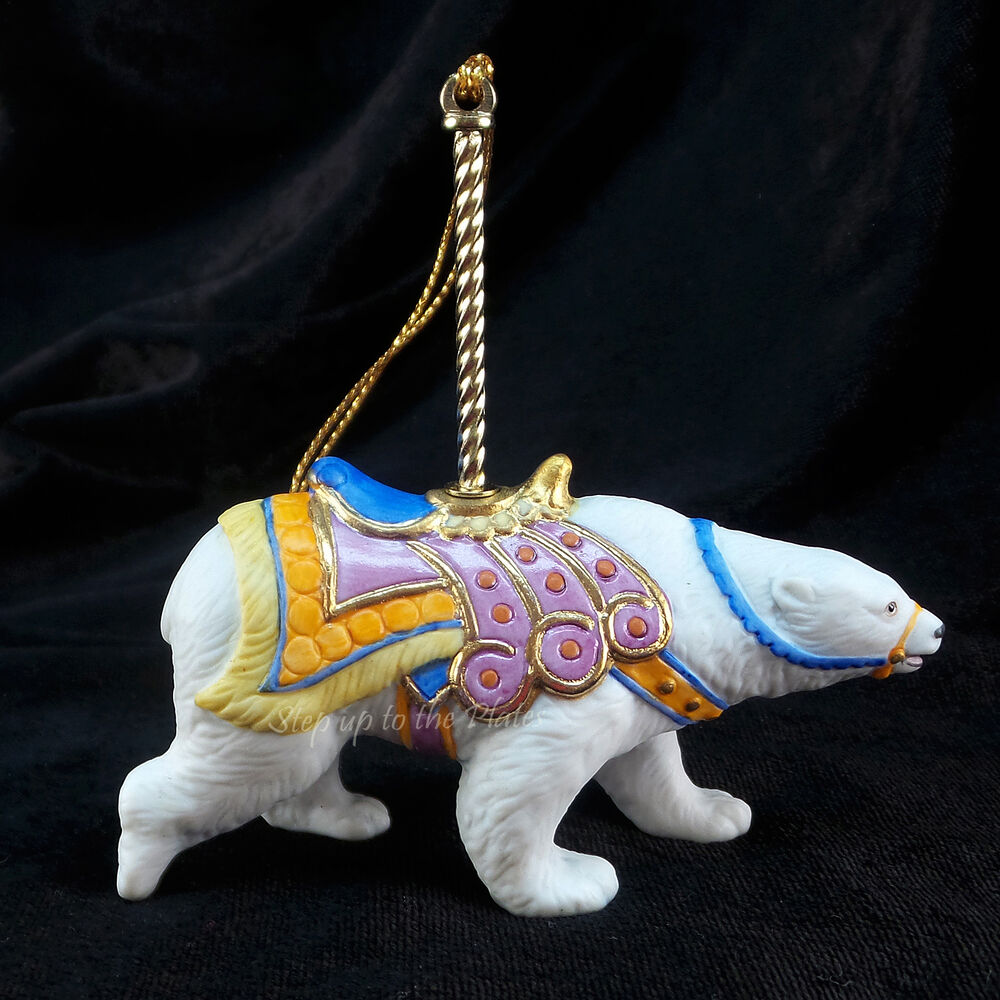 Christmas Tree Ornaments Horse: Lenox Carousel Horse POLAR BEAR Christmas Ornament 1989 He