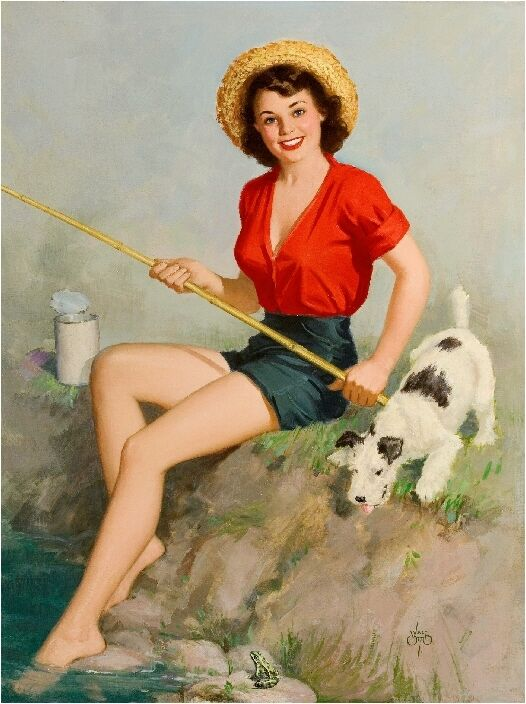1940s pin up girl fishing with fox terrier puppy dog. Black Bedroom Furniture Sets. Home Design Ideas