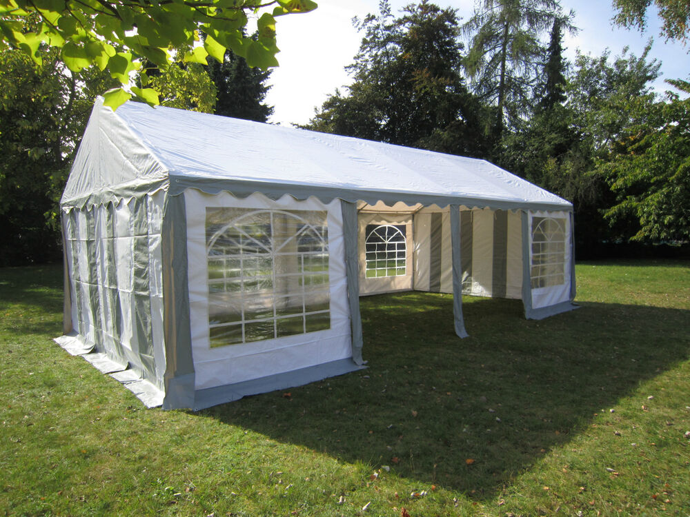 3x6 4x8m partyzelt gartenzelt pavillon zelt grau wei pvc wasserdicht ebay. Black Bedroom Furniture Sets. Home Design Ideas