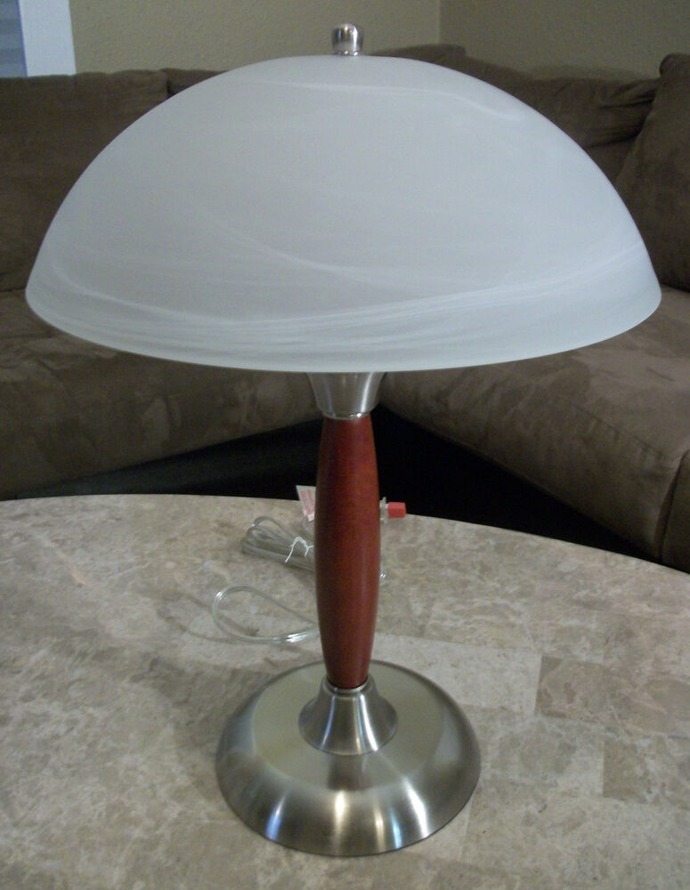 "Modern 19"" Touch Desk Table Lamp Cherry Wood w/ Brushed Nickel + Glass ..."
