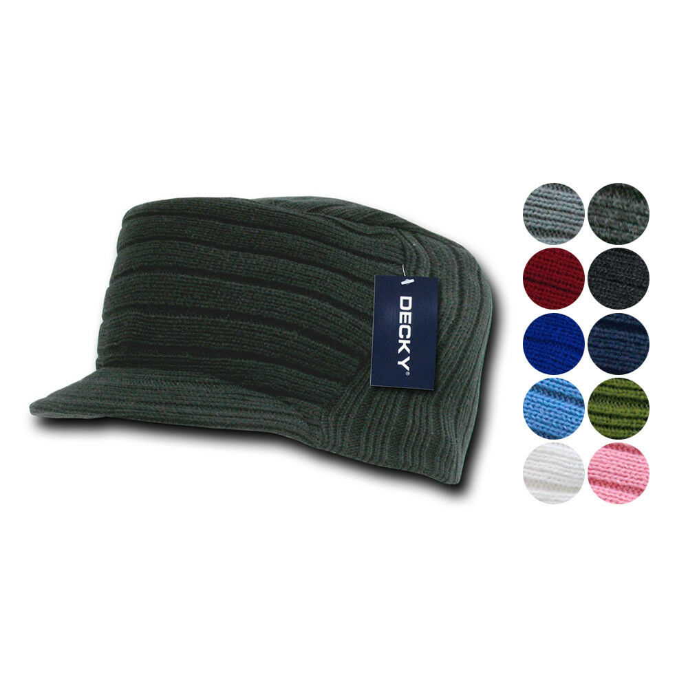 40dece088d9 Details about Gi Cadet Army Military Flat Top Jeep Beanies Caps Hats Ribbed  Knit Visor Ski