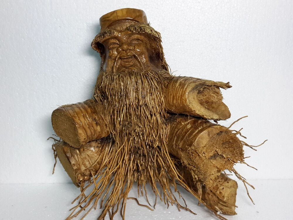 Hand carved mask by natural bamboo root sculpture vietnam